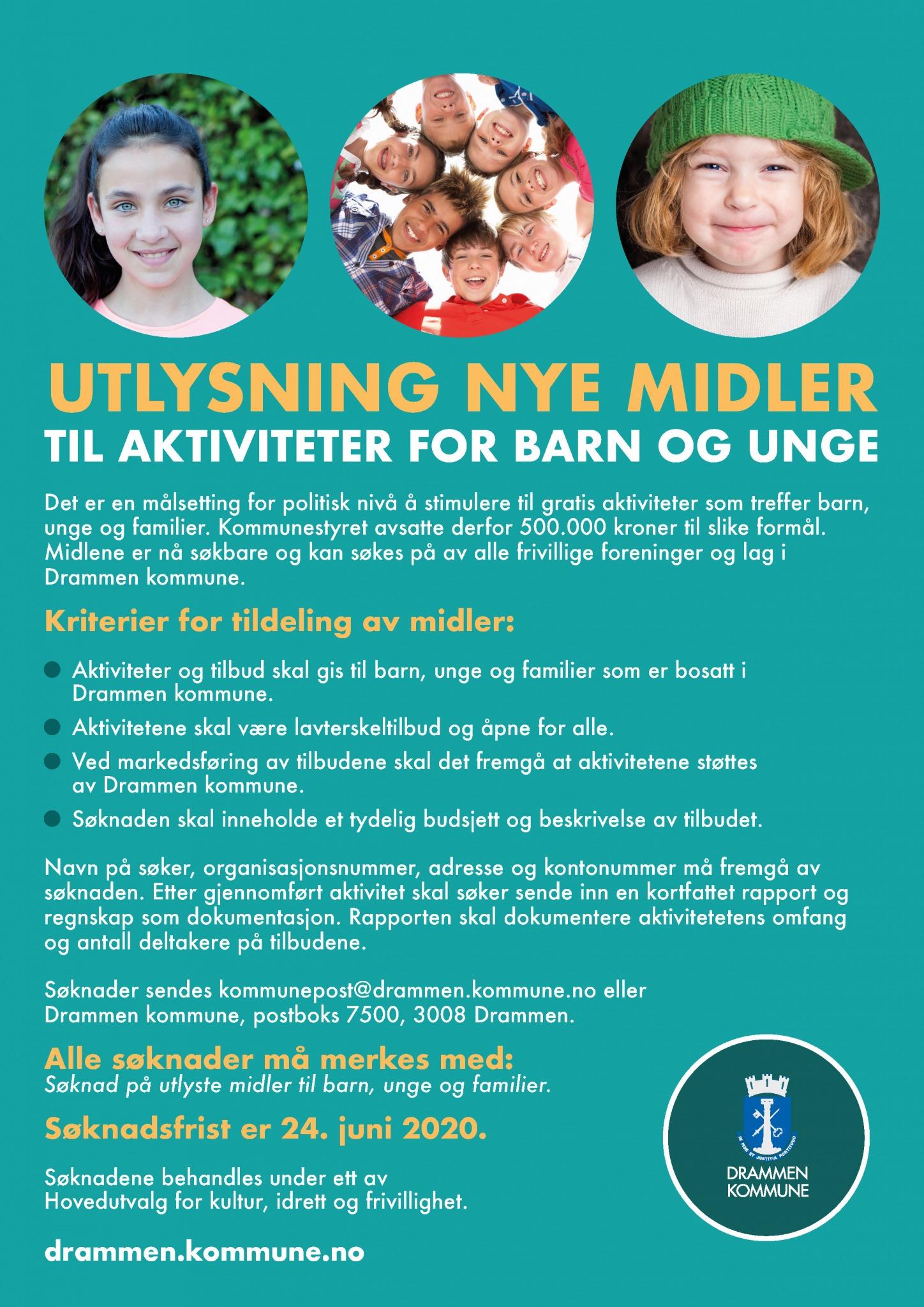 Drammen Kommune Utlyser Midler Til Aktivitet For Barn Og Unge Med Soknadsfrist 24 Juni Drammen Idrettsrad